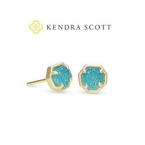 KENDRA SCOTT gold stud earrings in aqua druzy